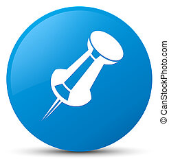 Push pin icon cyan blue round button