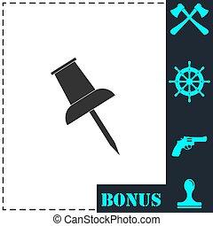 Push pin icon flat