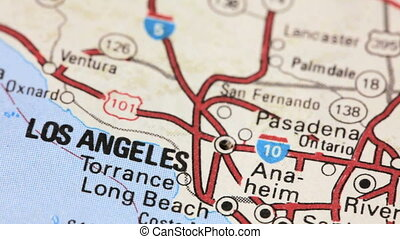 Push pin in Los Angeles - Map of Los Angeles, California