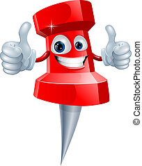 Push pin man - A red happy red cute push pin man giving a...