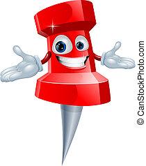 A push pin office supply character mascot illustration