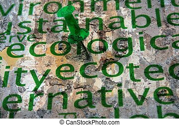 Push pin on ecology word cloud grunge concept