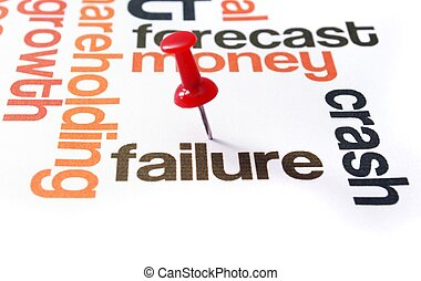 Push pin on failure text