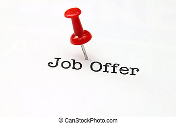 Push pin on job offer