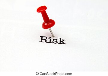 Push pin on risk text