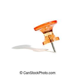 push pin - orange push pin macro with shadow