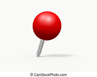 Red sphere shaped push pin, isolated on white background.
