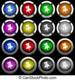 Push pin white icons in round glossy buttons on black background