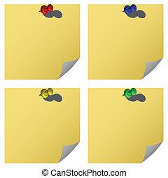 push pins and notes
