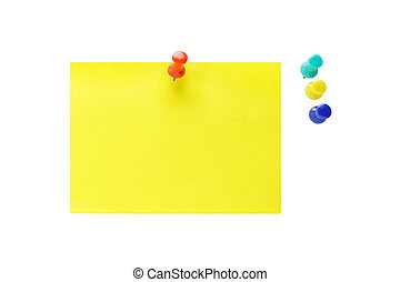 Push pins and yellow note paper