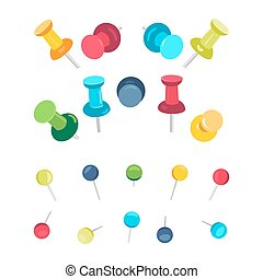 Push pins collection - Set of push pins in different colors...