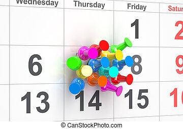 Push pins in calendar