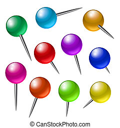 Push pins - Office push pins with different angles. Vector...