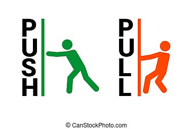 Push pull door sign. Vector push and pull icon sticker design concept.
