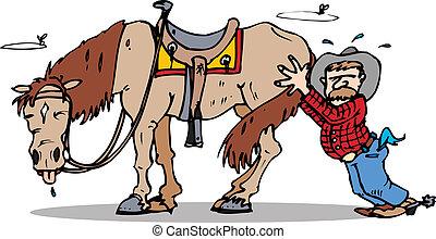 cowboy pushing his lazy horse