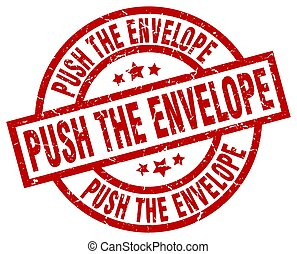 push the envelope round red grunge stamp