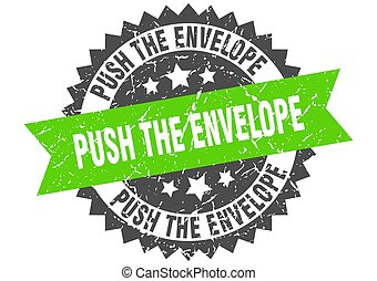 push the envelope stamp. grunge round sign with ribbon