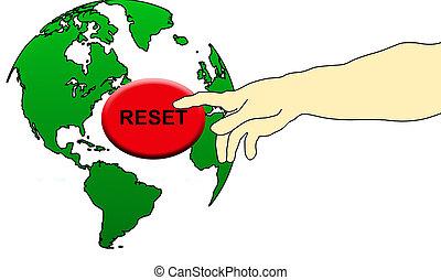 Finger pushing the world reset button, illustration
