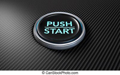 Push To Start Carbon Fibre Button - A closeup of a modern...
