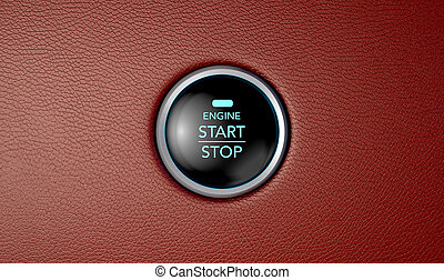 Push To Start Red Leather Button - A closeup of a modern car...
