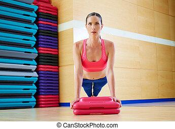 Push up push-ups woman exercise workout