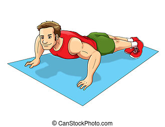 Push Up - Cartoon illustration of a man doing push up
