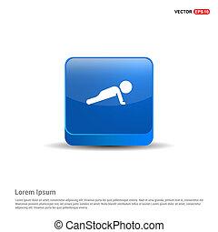 Push ups Icon - 3d Blue Button