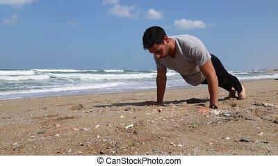 Push ups on the shore