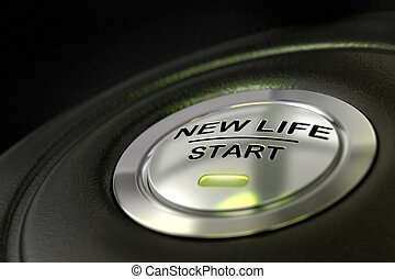pushed new life start button over black background, blue...