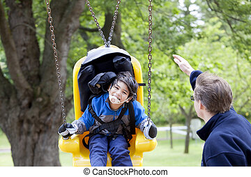 pushing, свинг, гандикап, отец, сын, отключен