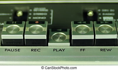 Pushing Button on a Tape Recorder, Play, Stop, Rec, ff, Rew,...