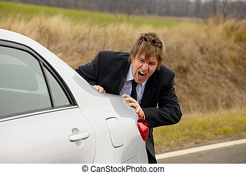 Pushing car - Pushing a broken down car