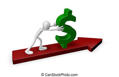 pushing dollar - cartoon guy pushes dollar on arrow - 3d ...