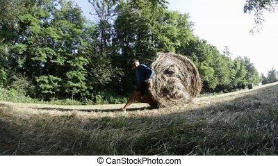 pushing hay-bale