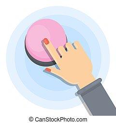 Pushing pink button.
