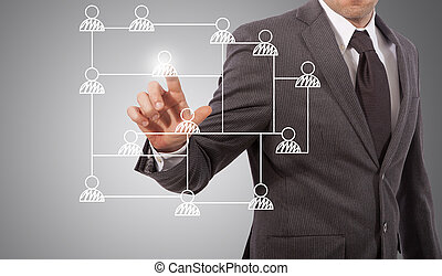 pushing social network icon - business man touching social...