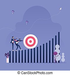 Pushing the target to the top of bar chart. Business Conquer adversity concept vector