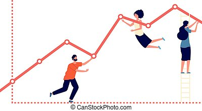 Pushing upward graph. Work results, increase profit and business growth metaphor. Flat people progress, teamwork and development vector concept