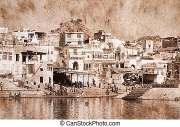 Pushkar, India. Artwork in retro style.