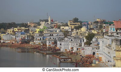Pushkar lake, ritual washing - PUSHKAR, INDIA - NOVEMBER 20,...