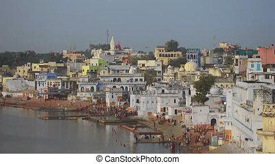 Pushkar lake, ritual washing - PUSHKAR, INDIA - NOVEMBER 20,...