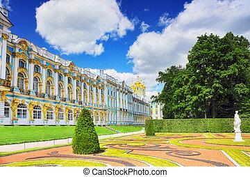(pushkin), palacio, katherine's, vestíbulo, selo, tsarskoe, ...