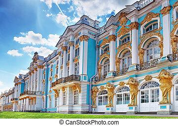 (pushkin)., selo, palacio, katherine's, tsarskoe, vestíbulo