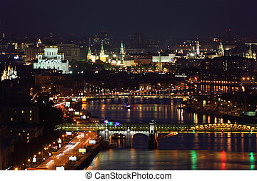 Pushkinsky bridge and Krymsky bridge at dark night in Moscow, Russia.