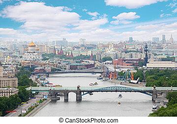 pushkinsky, och, krymsky, bro, hos, dag, in, moskva, russia., panorama, av, stad