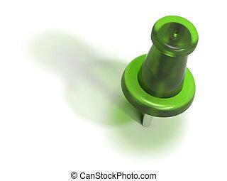 pushpin, -, aceptar, plástico, verde, o, chinche