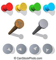 Pushpin and iron nail - Plastic tack - red, yellow, green, ...