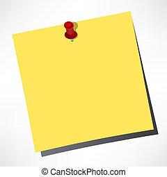 pushpin, color, notas, amarillo, papel, vector, plano de fondo, blanco