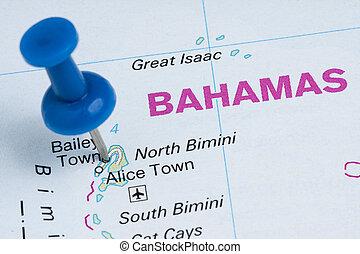pushpin, dále, bahamy, zeměpisný, mapa, cíl, prázdniny