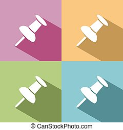 Pushpin icon with shade on colored background